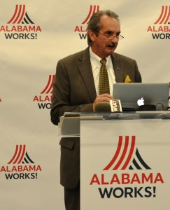 Ed Castile, deputy secretary of the Department of Commerce and executive director of Alabama Industrial Development and Training, speaks at the unveiling of AlabamaWorks. (Michael Tomberlin / Alabama NewsCenter)