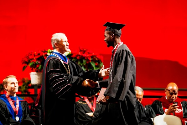 Raheem Falkins was one of more than 30 Crimson Tide student-athletes graduation from the University of Alabama Saturday. (Robert Sutton/UA Athletics)