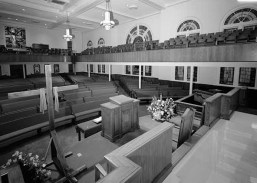 The interior of Birmingham's 16th Street Baptist Church in a 1993 photo. (Jet Lowe/Library of Congress)