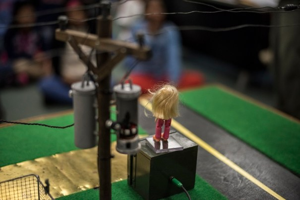 Safe-T-Opolis uses models to illustrate potential hazards involving power lines and electricity. (Christopher Jones/Alabama NewsCenter)