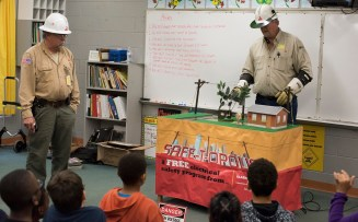 Alabama Power's Lifeliners teach schoolchildren how to stay safe around electricity. The company's Safe-T-Opolis program celebrates 30 years next month. (Christopher Jones/Alabama NewsCenter)