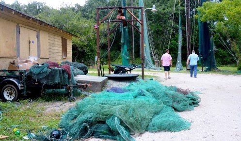 Once they're completed, Sprinkle's nets are dyed various shades of green. (Karim Shamsi-Basha/Alabama NewsCenter)