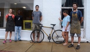 Pam Dorr, second from right, and the folks at HERObike build sturdy, durable bicycles out of bamboo. (Karim Shamsi-Basha/Alabama NewsCenter)