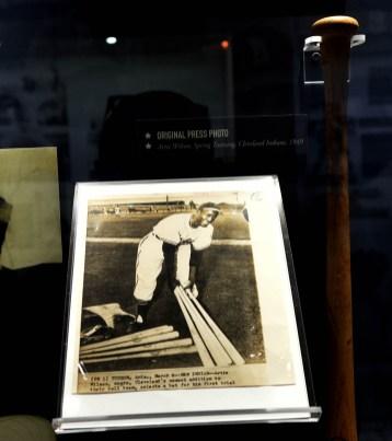 An original press photo of Birmingham Black Baron Artie Wilson is on display in the Negro Southern League Museum in Birmingham. (Solomon Crenshaw Jr. / Alabama NewsCenter)