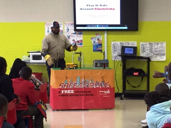 Alabama Power's Larry Gonzalez presents the Safe-T-Opolis program at Martin Luther King Elementary School in Tuscaloosa last year. (Contributed)