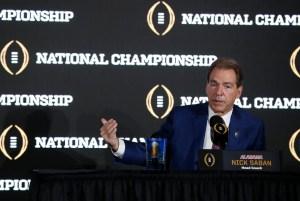 Alabama head coach Nick Saban at the joint press conference Sunday. (UA Athletics)