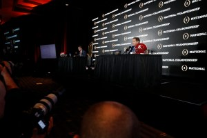 Clemson head coach Dabo Swinney, left, and Alabama head coach Nick Saban at the joint press conference Sunday. (UA Athletics)