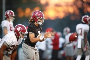 Quarterback Jalen Hurts at practice Tuesday. (Kent Gidley/UA Athletics)