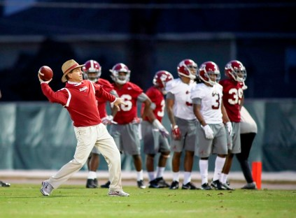 Head coach Nick Saban at Tuesday's practice. (Kent Gidley/UA Athletics)