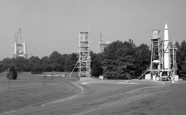 Marshall Space Flight Center, Redstone Rocket (Missile) Test Stand, Dodd Road, Huntsville. The Redstone Interim Test Stand, in use from 1953 to 1961, was developed by Dr. Wernher von Braun and associates to test the Redstone rocket propulsion system. Constructed for $25,000 out of materials salvaged from the Redstone Arsenal, the Interim Test Stand accommodated 362 static tests, including 200 that led directly to improvements in the Redstone rocket for the Mercury manned flight program. Adapted over the years to new rocket developments, the Interim Test Stand never experienced the progressive growth in size and cost that typified test stands in general, remaining a modest but effective testament to the engineering ingenuity of the rocket pioneers. (Library of Congress Prints and Photographs Division Washington, D.C.)