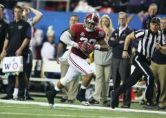 Ryan Anderson returns an interception for a touchdown in the Peach Bowl semifinal game. (Kent Gidley/UA Athletics)