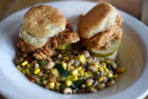 Entree featuring chicken plus biscuits at 5 Point Oyster House (contributed)