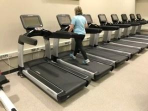 Participant Biddy Osbun builds endurance on the treadmill. (Bob Shephard)