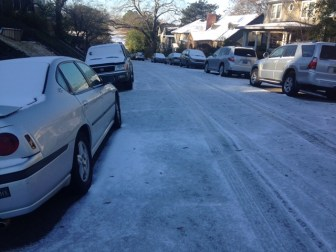 Area roads are still far from clear on Saturday morning. (Michael Sznajderman/Alabama NewsCenter)