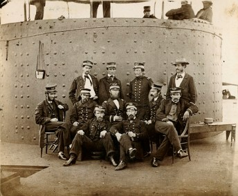 Officers on the deck of the USS Monitor. (The Mariners' Museum & Park)
