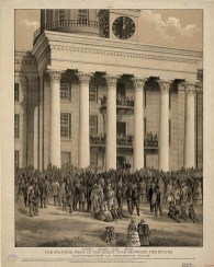 Lithograph shows a crowd gathered in front of the capitol building in Montgomery at the time of the announcement of Jefferson Davis as the first President of the Confederate States of America, c. 1888. Also shown with Davis are Vice President Alex. H. Stephens; Wm. L. Yancey, Leader of the Secession Party, and Howell Cobb, president of the Senate. (Published by A. Hoen & Co., Library of Congress Prints and Photographs Division)