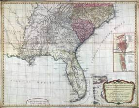 A 1794 map of the Southern dominions belonging to the United States of America: North Carolina, South Carolina and Georgia, with the bordering Indian countries. (Courtesy of the Southern History Department at the Birmingham Public Library)