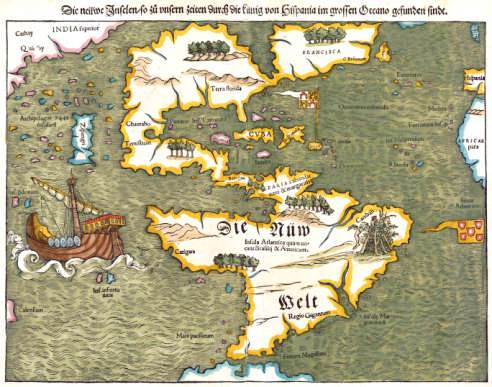 """Munster's 1545 map of North and South America set the New World's name as """"America."""" (Courtesy of the Southern History Department at the Birmingham Public Library)"""