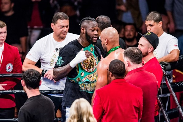 Deontay Wilder talks with Gerald Washington following the fight. (Nik Layman / Alabama NewsCenter)