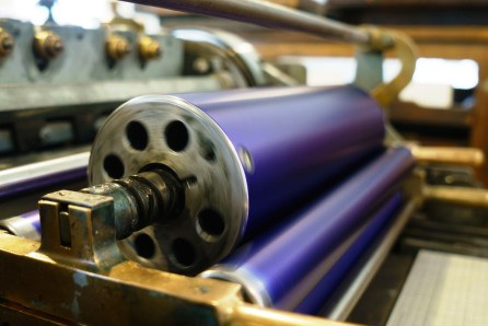 After Press uses a carefully maintained Vandercook No. 4 letterpress manufactured in the 1950s. (Mark Sandlin/Alabama NewsCenter)