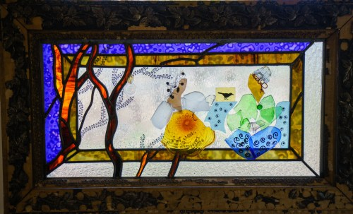 Etching, paint and found objects are all part of Deborah Strawn's stained glass artistry. (Mark Sandlin/Alabama NewsCenter)