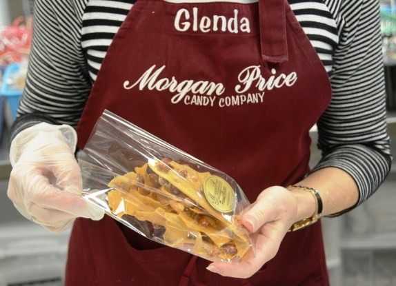 The finished product: a bag of Morgan Price peanut brittle. (Karim Shamsi-Basha/Alabama NewsCenter)