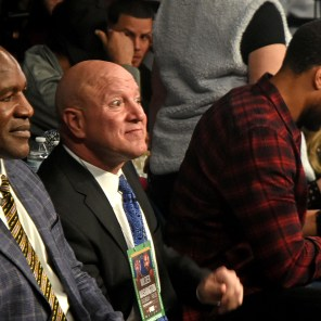 Evander Holifield takes his seat at ringside. He is among three former champions in attendance in Legacy Arena at the Birmingham-Jefferson Convention Complex for boxing action. (Solomon Crenshaw Jr. / Alabama NewsCenter)