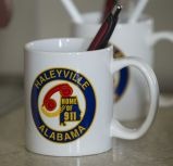 First 911 call made in Haleyville logo is seen everywhere. (Bernard Troncale / Alabama NewsCenter)