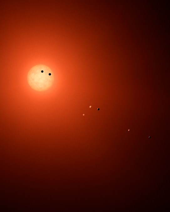 This illustration shows the seven TRAPPIST-1 planets as they might look as viewed from Earth using a fictional, incredibly powerful telescope. (NASA/JPL-Caltech/R. Hurt-IPAC)