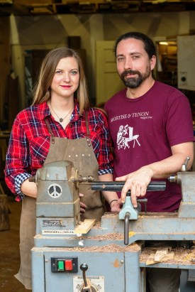 Megan and Shannon Brantley differ in their approaches, but share a love for working with wood and working with each other. (Mark Sandlin / Alabama NewsCenter)