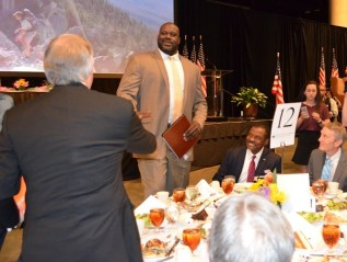 Shaquille O'Neal enters the luncheon at the Birmingham-Jefferson Convention Complex. (Michael Tomberlin / Alabama NewsCenter)