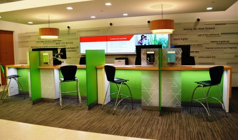 Universal banker stations have replaced the traditional teller windows at Regions Bank's new downtown branch. (Michael Tomberlin / Alabama NewsCenter)