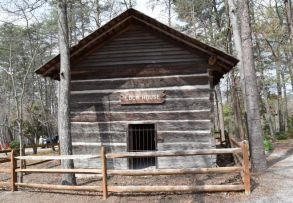 The Loom House from Tennessee was used as a 'fort within a fort.' Several holes in walls above the second floor appear to have been cut out for mounting guns. (Donna Cope / Alabama NewsCenter)