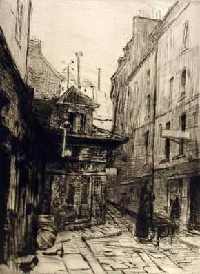 Etching by Clara Weaver Parrish entitled Rue du Sabot, c. 1910-1915. (Montgomery Museum of Fine Arts, Altairisfar, Wikimedia)