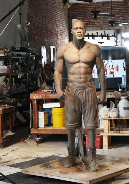 Artist Caleb O'Connor said he's striving to capture heavyweight champion Deontay Wilder's character in the statue he's creating. (Solomon Crenshaw Jr./Alabama NewsCenter)