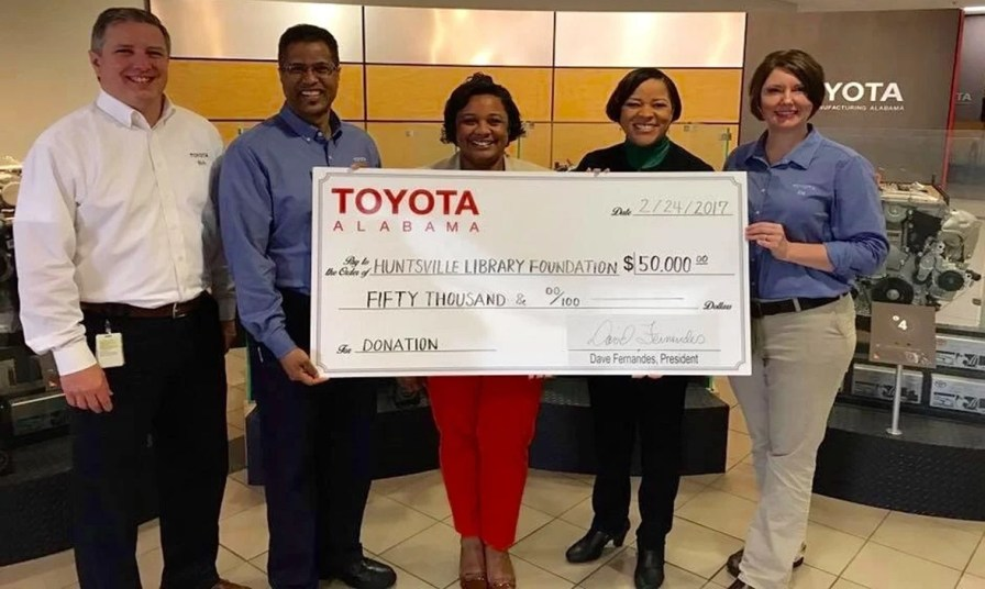 Toyota contributes $50,000 to the Huntsville Library Foundation. (Toyota)