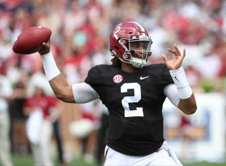 Quarterback Jalen Hurts prepares to throw during the 2017 A-Day game. (Kent Gidley/UA Athletics)