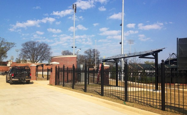 Solar panels at the University of Alabama's Sewell-Thomas baseball stadium help power the facility and provide data for UA's student researchers. (Brittany Faush-Johnson/Alabama NewsCenter)