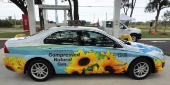 The Emerald Coast Utilities Authority brought a car from its CNG-fueled fleet to the presentation. (Solomon Crenshaw Jr./Alabama NewsCenter)