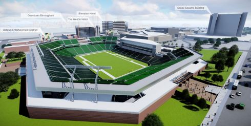 A concept of an open-air stadium that could be built north of the Uptown entertainment district. (Populous)