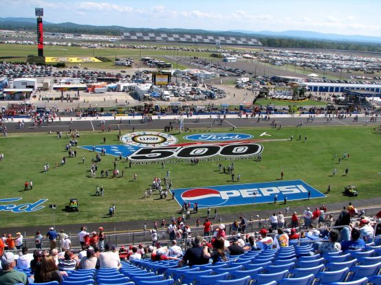 Talladega Superspeedway after repaving the track, 2006. (Jim Clark, Wikimedia)