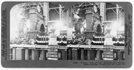 """Vulcan,"" god of fire, Alabama Iron Exhibit, Mines Building, World's Fair, St. Louis, Mo. (Griffith & Griffith/Library of Congress Prints and Photographs Division)"