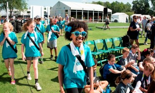 Birmingham-area third through fifth graders attend the Regions Junior Clinic before this week's Regions Tradition golf tournament. (Christopher Jones/Alabama NewsCenter)