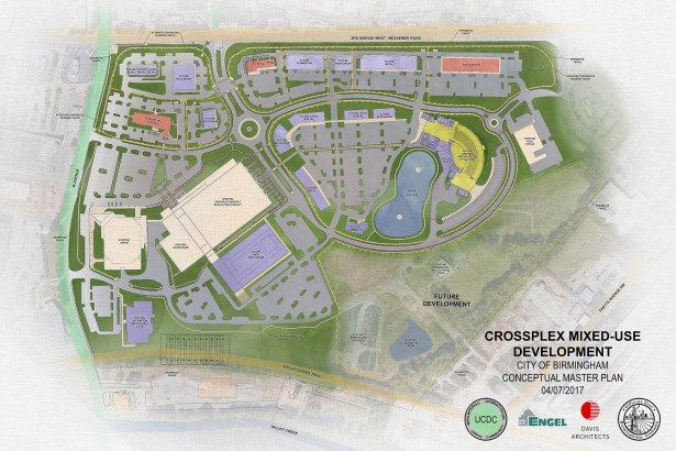 The master plan for CrossPlex Village includes multiple phases with the buildings shaded in red coming in the first phase starting construction in June. (Davis Architects)