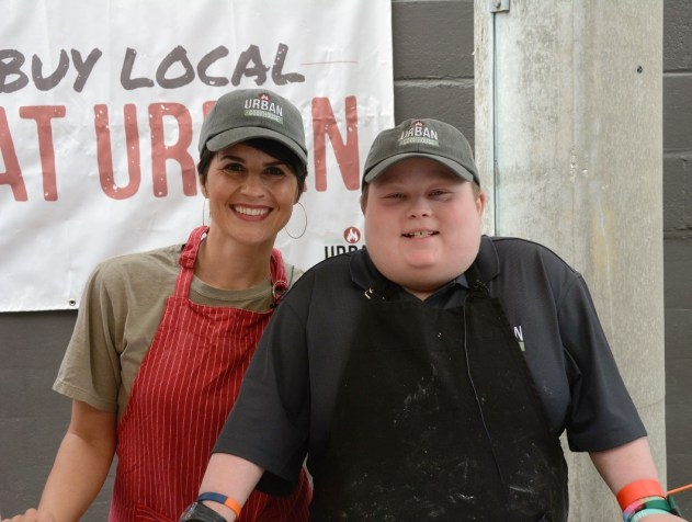 "Andrea Snyder of Urban Cookhouse and Fuller Goldsmith, ""Chopped Junior""winner, appeared together at the Market at Pepper Place. (Karim Shamsi-Basha / Alabama NewsCenter)"