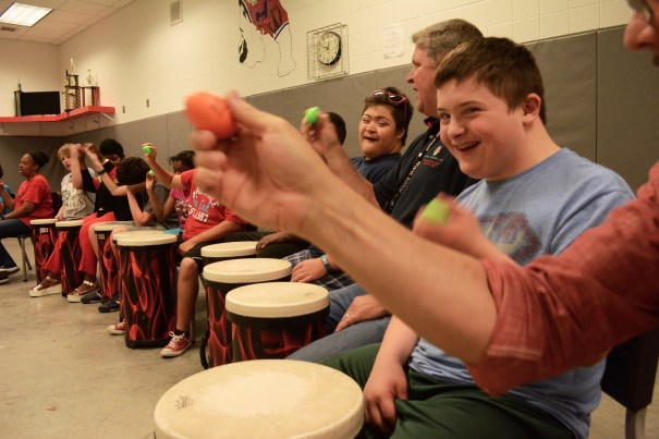 Synergy is a favorite activity for many of the students in the drum circle. (Karim Shamsi-Basha/Alabama NewsCenter)