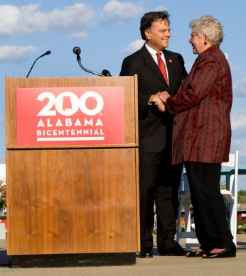 State Sen. Arthur Orr and Gov. Kay Ivey at the Alabama Bicentennial kickoff in Mobile. (Keith Necaise)