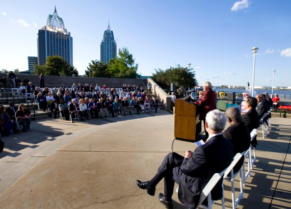Alabama Gov. Kay Ivey speaks to the audience at the launch of the Alabama Bicentennial in Mobile. (K)eth Necaise