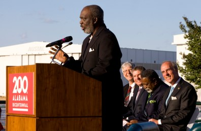 Stone Street Baptist Church Rev. Milton Saffold speaks to the audience at the Alabama Bicentennial kickoff. (Keith Necaise)