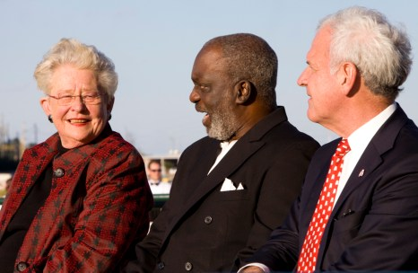 Gov. Kay Ivey, the Rev. Milton E. Saffold, Stone Street Baptist Church and U.S. Rep. Bradley Byrne participate in the Alabama Bicentennial kickoff in Mobile. (Keith Necaise)